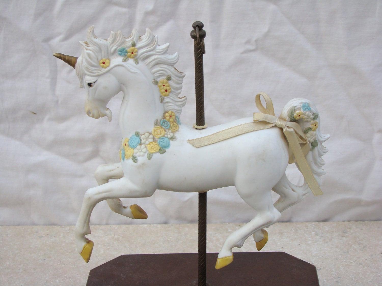 Unicorn Musical Carousel Horse Merry Go Round Ceramic
