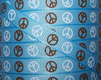 3/8 Grosgrain Ribbon - Printed Grosgrain Ribbon - 3 yards Blue Peace Ribbon - Ribbon By The Yard - Ribbon Supplies - Peace Ribbon