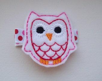 Girls Hair Accessories - Felt Hair Clips - White Felt Embroidered Owl Hair Clippie - Hair Clip Hair Clippie - Pink Red White Owl