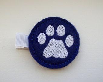 Girls Hair Accessories - Felt Hair Clips - Blue Felt Embroidered Paw Print Hair Clippie - Hair Clip Hair Clippie - Blue White Paw Print