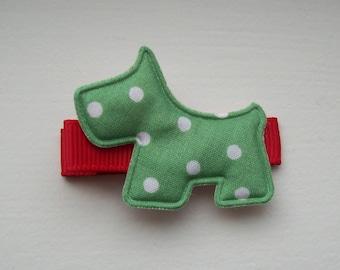 Girls Hair Accessories - Appliqué Hair Clips - Christmas Puffy Scotty Hair Clippies - One Dollar - Hair Clips Hair Clippies - Scotty Dog
