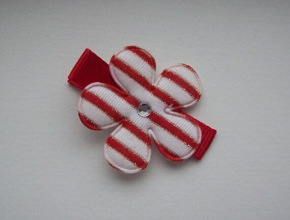cute red white flower hair clip with a rhinestone center ONE DOLLAR