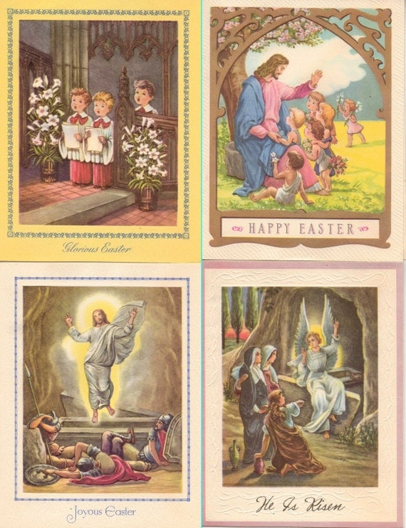 Easter Greeting Cards 1950s The Norbertine Fathers - Four (4)