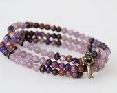 Lavender jasper and amethyst jasper bracelet
