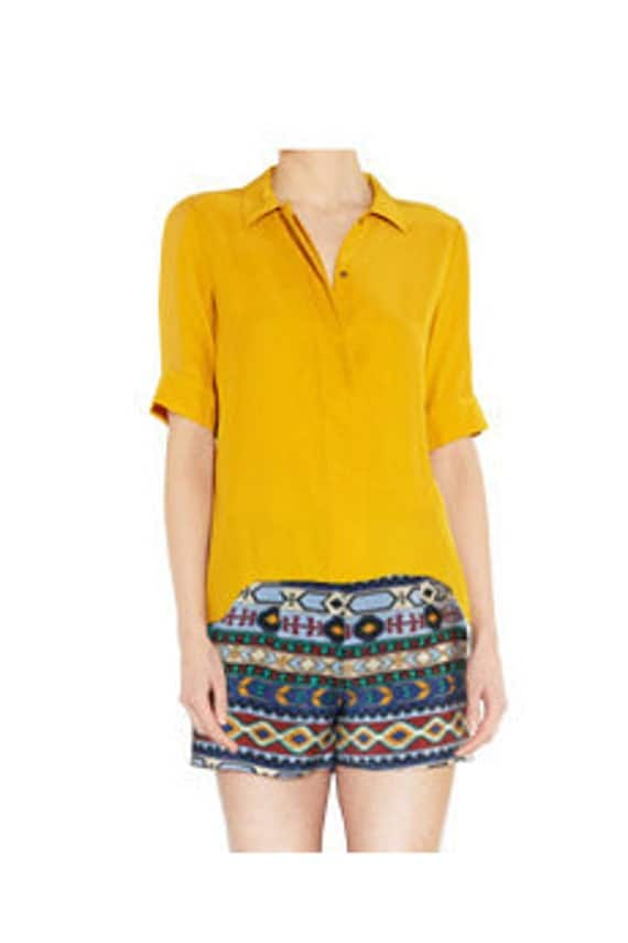 EthnicCAMP Silk Shorts with Leather Trim