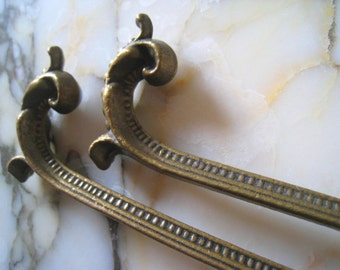Large ormolu curtain tie backs burnished french brass pair...
