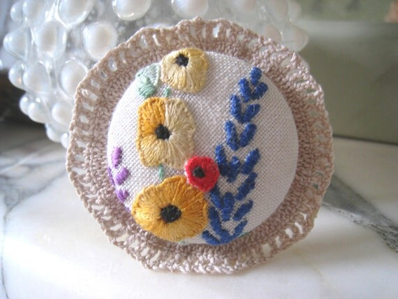 hand embroidered upcycled spring flowers brooch pin
