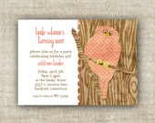 OWL BIRTHDAY PARTY Invitation Girl Digital Printable Cards Who's Having a Birthday Pink Stitching -  81445416