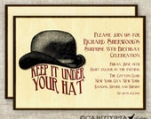 SURPRISE BIRTHDAY PARTY Invitations Vintage Bowler Hat Digital diy Printable Personalized - 93975551