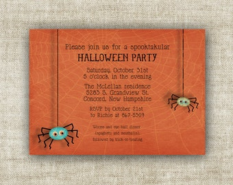 Halloween Invitation Party Digital Printable Child Spider Party - 81488629