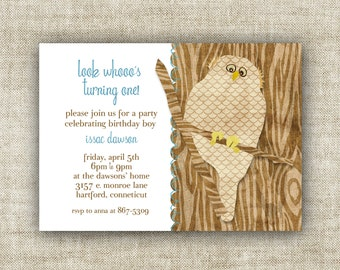 OWL BIRTHDAY PARTY Invitations Digital Printable Cards Who's Having a Birthday Blue Stitching - 81445296
