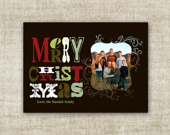 Rustic Typography Merry Christmas Cards Family Picture Customizable Printable Digital HOLIDAY Greeting - 86442453