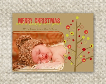 Merry Christmas and A Happy New Year Family Picture Customizable Printable Digital HOLIDAY Greeting