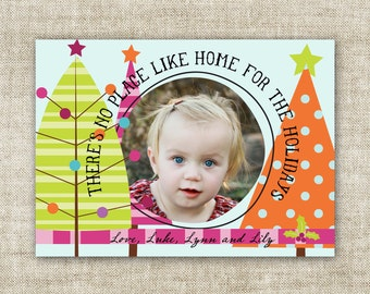 There's No Place Like Home For The Holidays Christmas Card Family Picture Customizable Printable Digital HOLIDAY Greeting