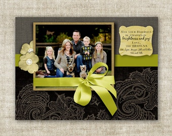 Brightness Joy Christmas Cards Holiday Greeting Elegant Paisley and Ribbon Family Picture Customizable Printable Digital HOLIDAY Greeting