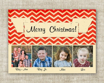 Chevron Merry Christmas Banner Cards Family Picture Customizable Printable Digital HOLIDAY Greeting