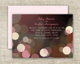 Bokeh GIRL BABY SHOWER Invitations Pink Printable Digital Custom Cards - 90710476
