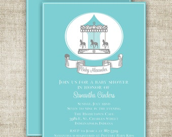 CAROUSEL Boy BABY SHOWER Invitations Blue Merry Go Round Banner diy Printable Custom Cards - 91610794