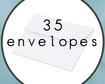 "35 ENVELOPES Size A7 5.25"" by 7.25"" White Announcement Envelopes"