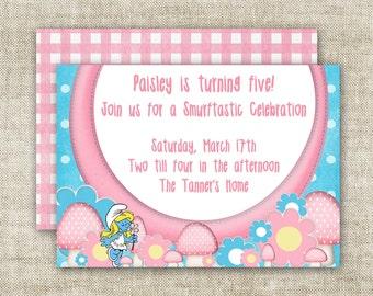 GIRL BIRTHDAY PARTY Invitation Digital diy Printable Cards Smurfs Smurfette - 95109783