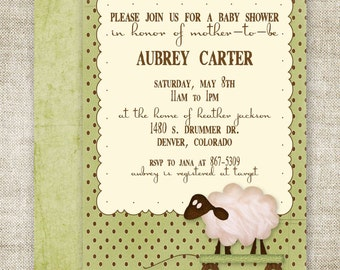 LAMB BABY SHOWER Invitations Digital Printable Personalized Gender Neutral Green - 81441580