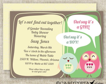 Owl GENDER Reveal BABY SHOWER Party Invitations Mod Owl Pink and Blue Digital Printable Personalized Cards - 90926678