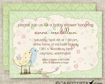 Shabby Chic BABY SHOWER Vintage Invitations Digital Printable Personalized Green Gender Neutral - 81445018