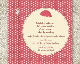 UMBRELLA Girl BABY SHOWER Invitations Digital Printable Personalized Pink Polk-a-Dots - 83770032
