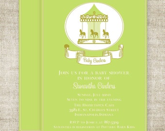 CAROUSEL BABY SHOWER Invitations Boy or Girl Merry Go Round Banner diy Printable Custom Cards - 91612636