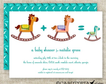 BOY BABY SHOWER Invitations Rocking Horse Digital diy Printable Personalized - 86441419
