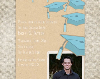 GRADUATION ANNOUNCEMENTS INVITATIONS Digital diy Printable Personalized - 97715388