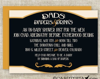 MAN DIAPER SHOWER Invitations Dad Diaper and Drinks Party Digital diy Printable Personalized - 92766049