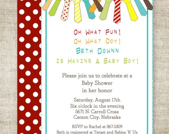 Boy Baby Shower Invitations NECK TIE BANNER Digital Printable Personalized - 101751731