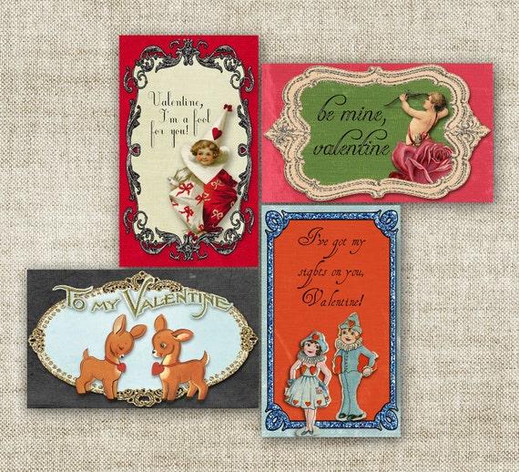 SALE VALENTINE'S DAY Vintage Card Pack for Children School Class 1920s Victorian 3x5 - 89503017