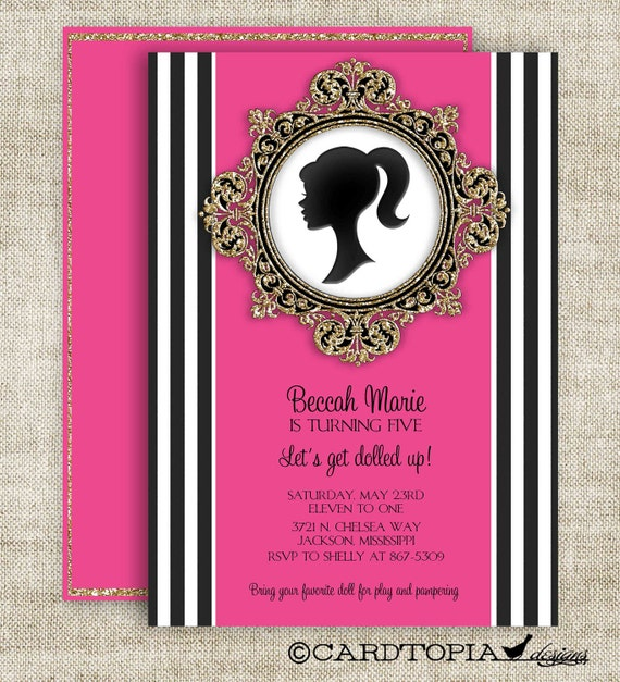 DOLL BIRTHDAY PARTY Invitations Barbie Inspired Dress Up Party