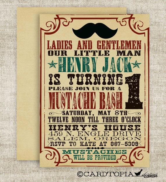 MUSTACHE BASH Boy BIRTHDAY Party Invitation Digital diy Printable Cards Poster - 84190110
