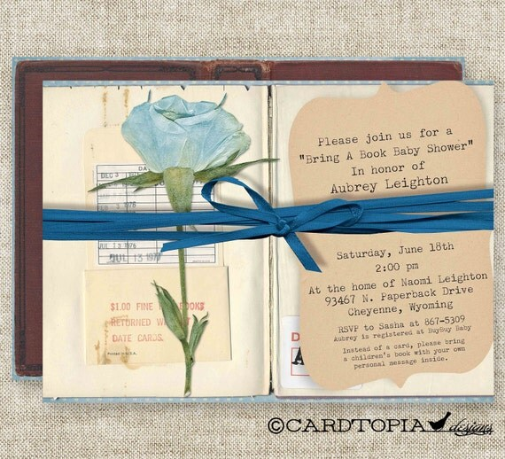 Bring A Book BABY SHOWER Invitations Build A Library Boy Rose Digital Printable Personalized - 89711487