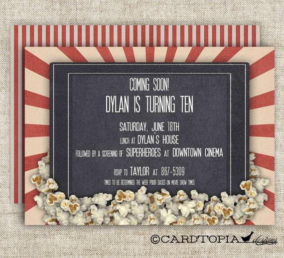Movie Theater BIRTHDAY PARTY Invitations Girl or Boy Printable Digital Design DIY Cards - 100320490