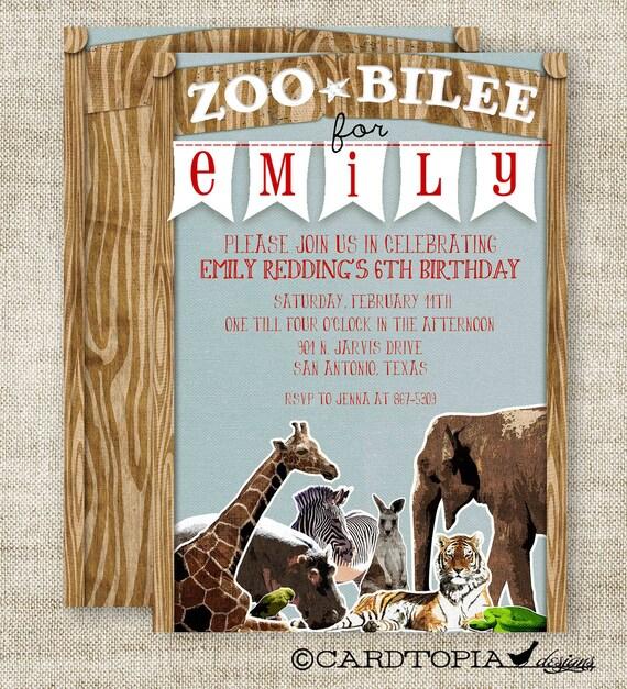 ZOO Boy or Girl BIRTHDAY INVITATION Party Custom Digital diy Printable Cards - 90938515