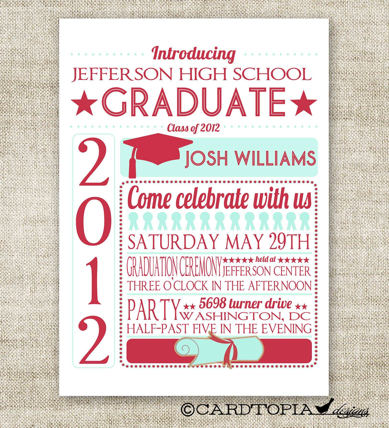 GRADUATION ANNOUNCEMENTS INVITATIONS Digital diy Printable