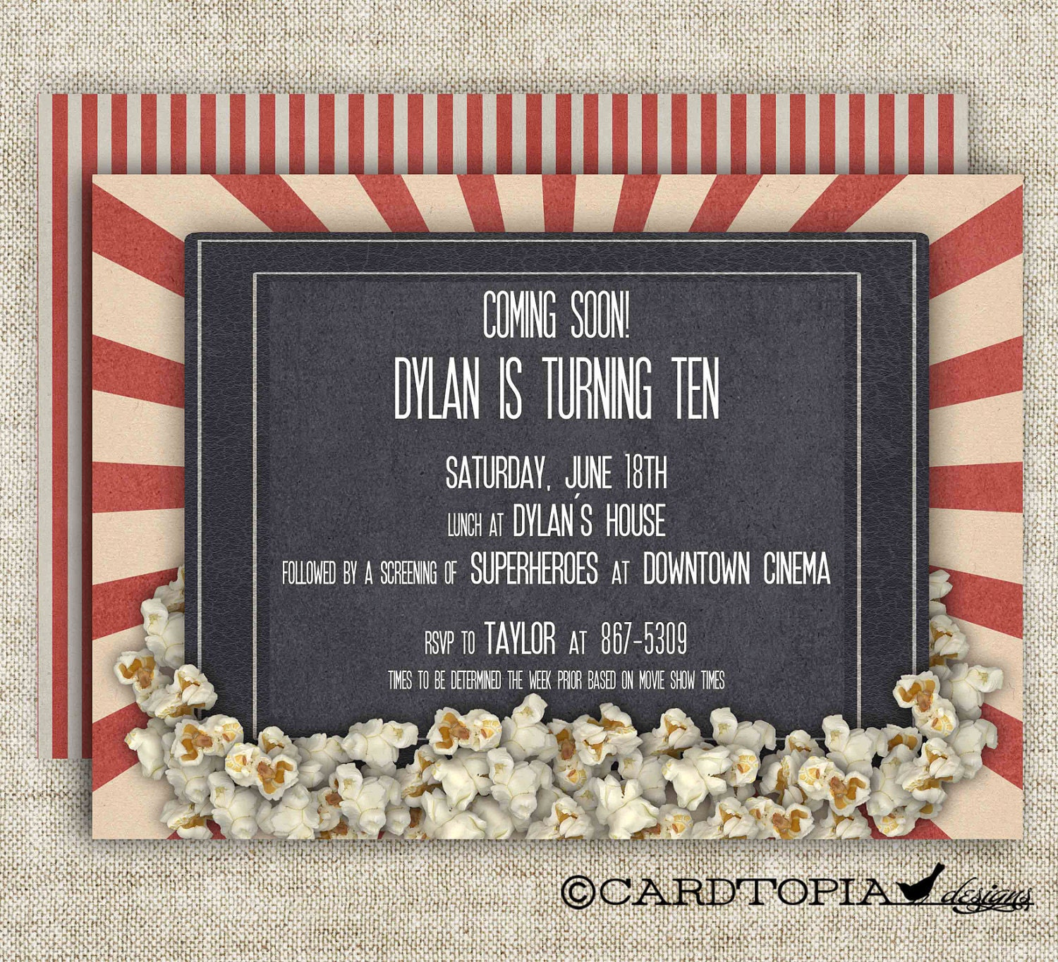 Movie Theater BIRTHDAY PARTY Invitations Girl or Boy Printable