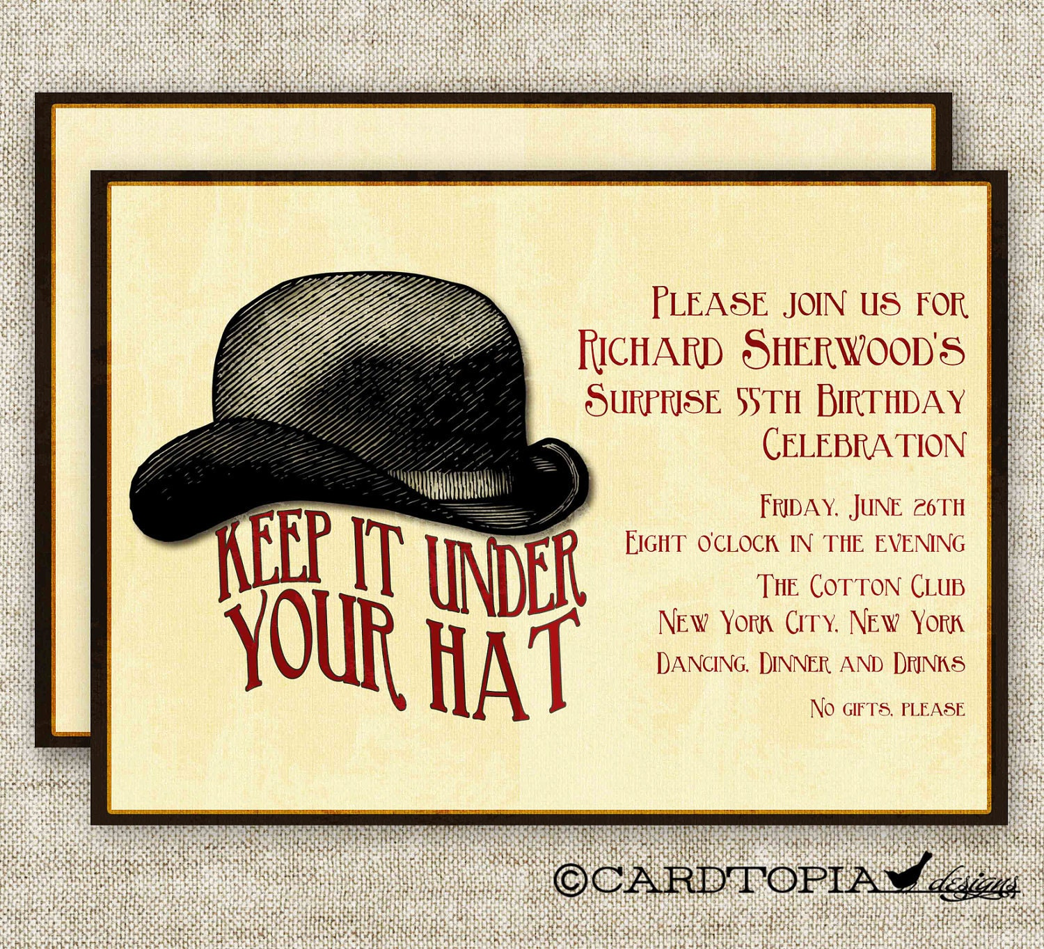 SURPRISE BIRTHDAY PARTY Invitations Vintage Bowler Hat Digital