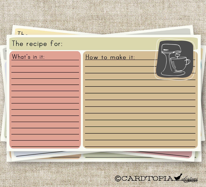 Retro RECIPE CARD 3X5 Printable Design Mixer 101211982