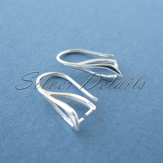 Sterling Silver French Ear Wires Hooks with Pinch Bail for Swarovski Crystals 925 model ES17 1 pair