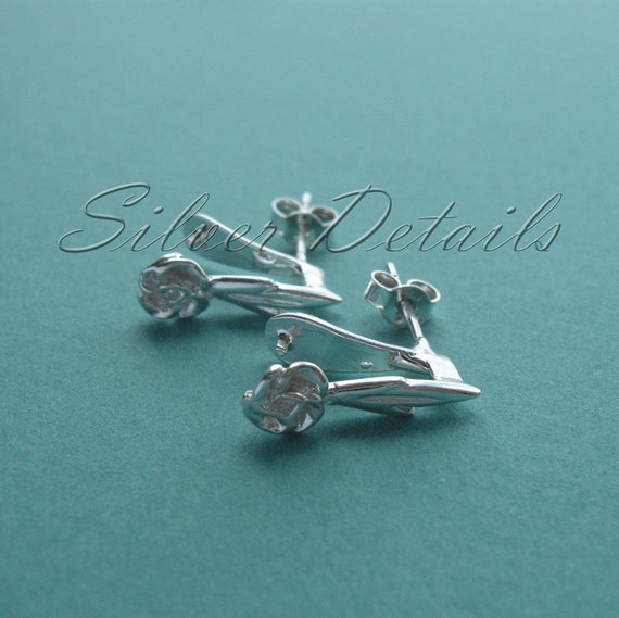 Roses Sterling Silver Earstuds with Pinch Bail for Swarovski Crystals with Ear Nuts model ES40 1 pair