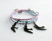 Set of Three Bracelets, Pastel Braided Leather with Swallow Bird Charms