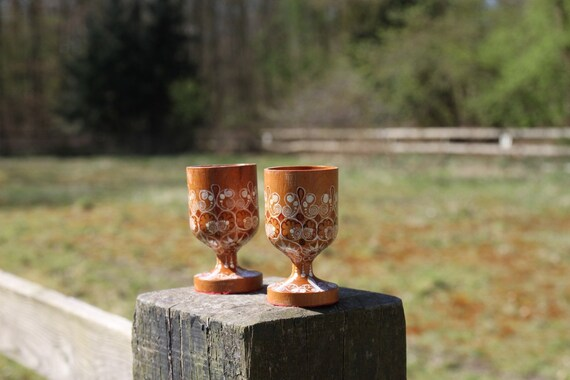 Two pretty wooden egg cups - hand painted