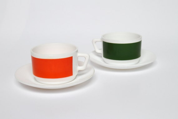 Modern milk glass cups and saucers by Arcopal France
