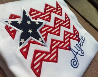 American Flag Shirt for 4th of July - Chevron Stripes