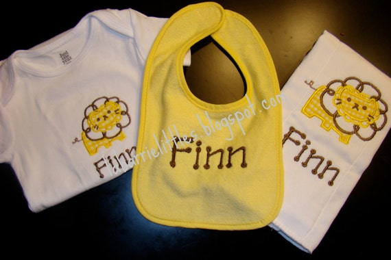 Applique Lion Baby Shower Gift Set - Baby Girl or Baby Boy